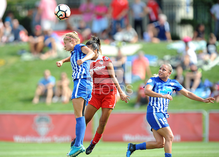 Boyds, MD - Saturday August 12, 2017: Rosie White, Caprice Dydasco, Adriana Leon during a regular season National Women's Soccer League (NWSL) match between the Washington Spirit and The Boston Breakers at Maureen Hendricks Field, Maryland SoccerPlex.
