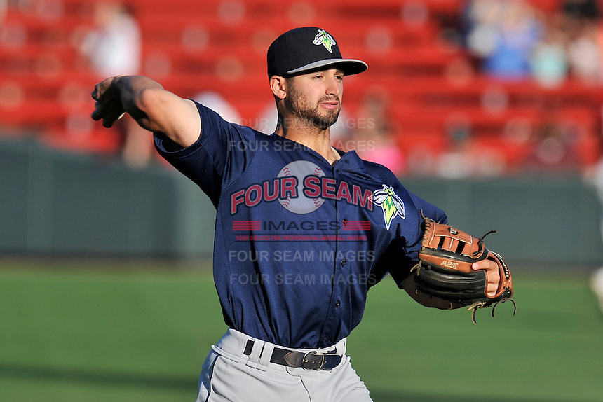 Second baseman Vinny Siena (9) of the Columbia Fireflies warms up before a game against the Greenville Drive on Saturday, April 23, 2016, at Fluor Field at the West End in Greenville, South Carolina. Columbia won, 7-3. (Tom Priddy/Four Seam Images)