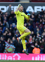 Sam Johnstone of Aston Villa celebrates after his side goes 2-0 up during the Sky Bet Championship match between Aston Villa and Birmingham City at Villa Park, Birmingham, England on 11 February 2018. Photo by Bradley Collyer/PRiME Media Images.