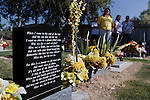 Melani Travioli visits the roadside memorial for her son Eric Gary Travioli. Melani is a member of the support group Mothers of an Angel Friendship Network.<br />