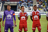 MONTERIA - COLOMBIA, 19-08-2018: Leandro Castellanos, Luis Manuel Seijas, Arley Rodriguez, jugadores del Santa Fe posan para una foto previo al partido entre Jaguares de Córdoba y Independiente Santa Fe por la fecha 5 de la Liga Águila II 2018 jugado en el estadio Municipal de Montería. / Leandro Castellanos, Luis Manuel Seijas, Arley Rodriguez players of Santa Fe pose to a photo prior the match between Jaguares of Cordoba and Independiente Santa Fe for the date 5 of the Liga Aguila II 2018 at the Municipal de Monteria Stadium in Monteria city. Photo: VizzorImage / Andres Felipe Lopez / Cont