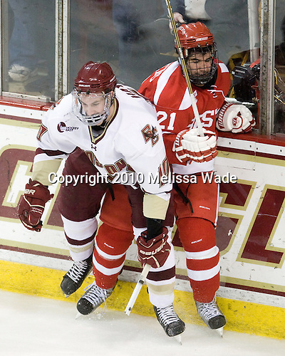 Jimmy Hayes (BC - 10), Sean Escobedo (BU - 21) - The Boston College Eagles defeated the visiting Boston University Terriers 5-2 on Saturday, December 4, 2010, at Conte Forum in Chestnut Hill, Massachusetts.