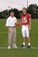 7 August 2006: Stanford Cardinal head coach Walt Harris and Alex Loukas during Stanford Football's Team Photo Day at Stanford Football's Practice Field in Stanford, CA.