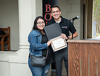 "Oswaldo Lopez Jr., Administrative Coordinator for Upward Bound and Joana Muñoz.<br /> Upward Bound hosts their annual ""End of the Year"" celebration with participants and their families on May 12, 2018 in the courtyard of Booth Hall. Jimmy Gomez, U.S. Representative for California's 34th congressional district, was the featured speaker at the event.<br /> Upward Bound was established at Occidental College in 1966 and has since served over 2000 first generation, low income students in the Los Angeles region.<br /> (Photo by Marc Campos, Occidental College Photographer)"