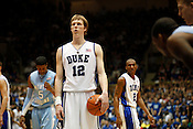Kyle Singler finds his focus at the line during the last regular season game against UNC at Cameron Indoor Stadium, Sat., March 6, 2010. Single lead the Blue Devils with 25 points.