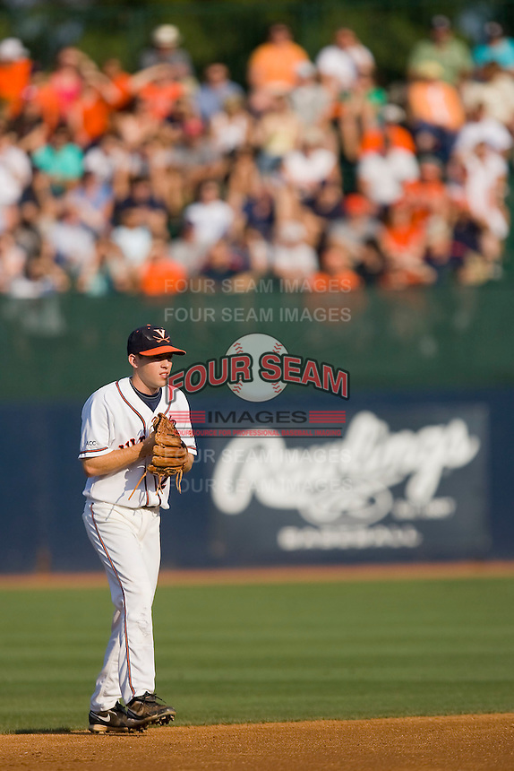 Keith Werman #2 of the Virginia Cavaliers on defense against the St. John's Red Storm in front of 4,800+ fans in the championship game of the Charlottesville Regional at Davenport Field on June 7, 2010, in Charlottesville, Virginia.  The Cavaliers defeated the Red Storm 5-3.  Photo by Brian Westerholt / Four Seam Images