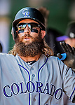 14 April 2018: Colorado Rockies outfielder Charlie Blackmon returns to the dugout after hitting a 2-run homer in the first inning to open the scoring against the Washington Nationals at Nationals Park in Washington, DC. The Nationals rallied to defeat the Rockies 6-2 in the 3rd game of their 4-game series. Mandatory Credit: Ed Wolfstein Photo *** RAW (NEF) Image File Available ***