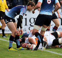 Bedford, England. Richard Mayhew of Newcastle Falcons scores the first try during The Championship Bedford Blues vs Newcastle Falcons at Goldington Road  Bedford, England on November 3, 2012