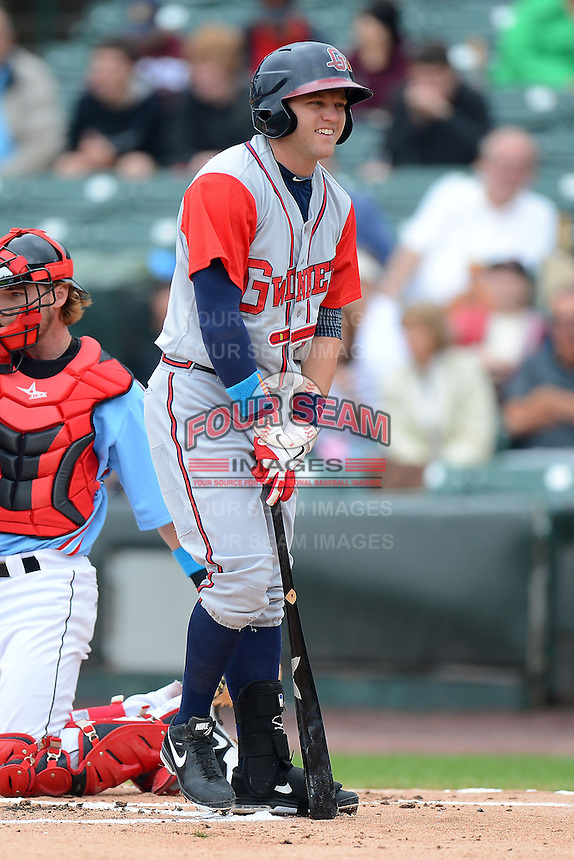 Gwinnett Braves second baseman Tyler Pastornicky #1 reacts to a strike three call during a game against the Rochester Red Wings on June 16, 2013 at Frontier Field in Rochester, New York.  Rochester defeated Gwinnett 6-3.  (Mike Janes/Four Seam Images)