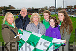 Desiree Crowley, Michael Dineen, Miriam Lyne, Eve Crowley, Isabelle Corridon and Meave Crowley waving the flag at the AIB Munster club SFC clash in Pairc Uí Rinn on Sunday