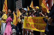 April 30, 2011 (Washington, DC) Protesters gathered in front of the Vietnamese embassy to protest human rights abuses by the communist government of Vietnam. (Photo credit must read: Don Baxter/Media Images International)