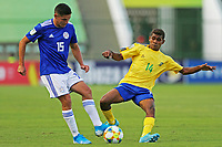 31st October 2019; Bezerrao Stadium, Brasilia, Distrito Federal, Brazil; FIFA U-17 World Cup Brazil 2019, Solomon Islands versus Paraguay; Densly Geseni of Solomon Islands and Fabio Barrios of Paraguay - Editorial Use