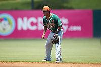 Greensboro Grasshoppers second baseman Rodrigo Ayarza (18) on defense against the Kannapolis Intimidators at Kannapolis Intimidators Stadium on August 5, 2018 in Kannapolis, North Carolina. The Grasshoppers defeated the Intimidators 2-1 in game one of a double-header.  (Brian Westerholt/Four Seam Images)