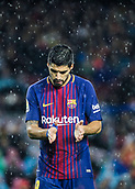 4th November 2017, Camp Nou, Barcelona, Spain; La Liga football, Barcelona versus Sevilla; Luis Suarez of FC Barcelona claps his hands as a chance goes begging