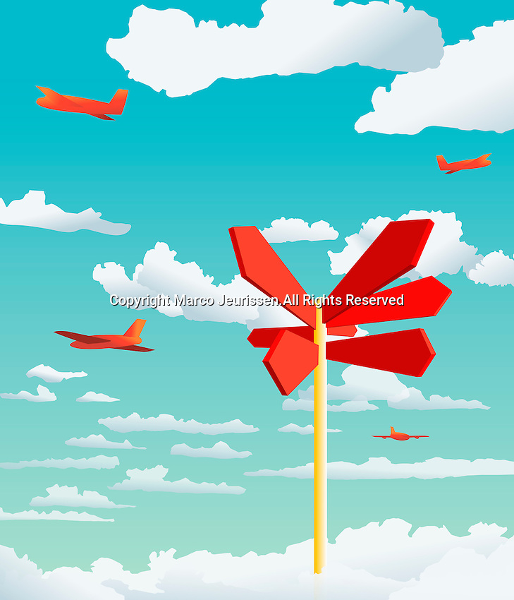 Airplanes in the sky with signpost pointing in different directions