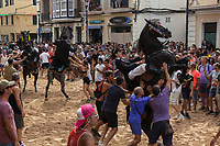 "Spain. Balearic Islands. Minorca (Menorca). Mahon. Rising horse at  ""Festes de la Mare de Déu de Gràcia"" during the traditional summer festival. The Menorquín is a breed of horse indigenous to the island and is closely associated with the doma menorquina style of riding. The riders wear black and white and most of their horses (adorned with ribbons and multi-coloured rosettes) are of the highly-considered Menorcan breed. The riders and their horses parade through the streets, and these magnificent and remarkably calm horses rear up on their hind-legs to the delight of the crowd. The most valued quality of Menorquín horse is its suitability for the traditional festivals of Menorca. Horses and riders are at the centre of local fiesta celebrations, in a tradition that may go back to the 14th century and incorporate elements of Christian, pagan and Moorish ritual. Some 150 riders participate in the festival in Mahón. Riders pass through the crowds, executing caracoles and repeatedly performing the bot. The aim of the 'bot' is for the horse to stand on its hind legs while keeping its head and shoulders relaxed and without tension; the more often it is performed and the greater the distance travelled, the greater the applause of the crowd. The elevade, in which the horse beats the air with the front hooves, is also a part of the ritual of the fiesta. Touching the horses is believed to bring good luck. Maó (in Catalan) and Mahón (in Spanish), written in English as Mahon, is a municipality, the capital city of the island of Menorca, and seat of the Island Council of Menorca. The city is located on the eastern coast of the island, which is part of the autonomous community of the Balearic. In Spain, an autonomous community is a first-level political and administrative division, created in accordance with the Spanish constitution of 1978, with the aim of guaranteeing limited autonomy of the nationalities and regions that make up Spain. 8.09.2019 © 2019 Didier Ruef"