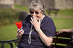Elderly lady has fun in the park - EXCLUSIVELY AVAILABLE HERE