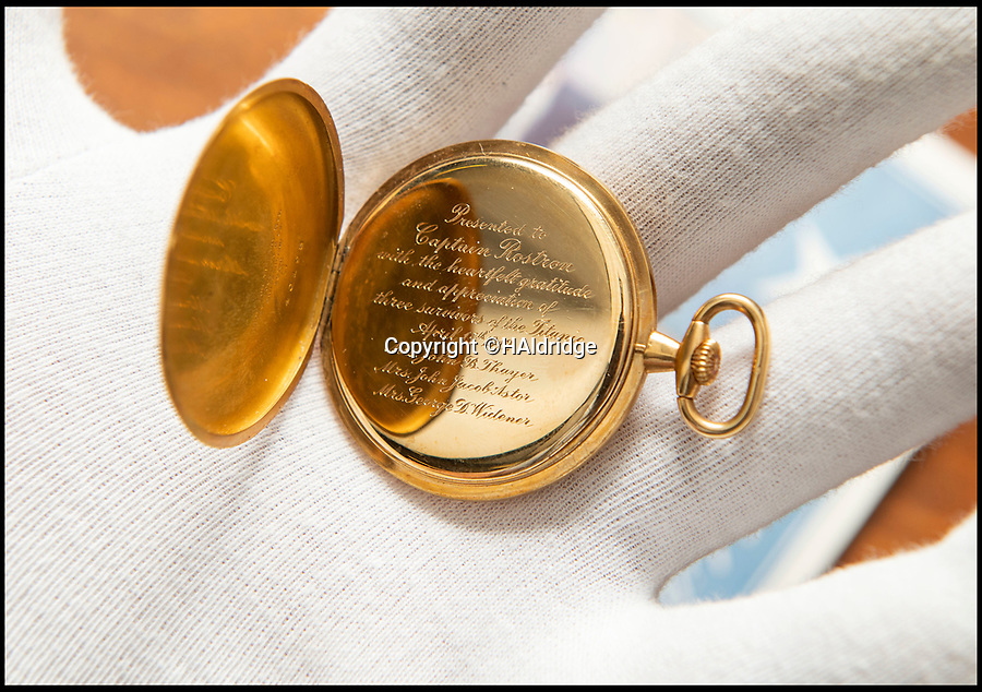 BNPS.co.uk (01202 558833)<br /> Pic: HAldridge/BNPS<br /> <br /> Golden gift of gratitude - A beautiful gold watch three wealthy widows gifted to the captain of the Carpathia who rescued them from the Titanic disaster is to be sold for £50,000.<br /> <br /> Madeline Astor, Marian Thayer and Eleanor Widener bought the 18ct gold pocket watch from Tiffany & Co after they returned safely to New York following the sinking that claimed there husbands lives.<br /> <br /> They presented it to Capt Arthur Rostron as an expression of thanks and gratitude for rescuing them and attempting to save their three husbands who all drowned.<br /> <br /> The watch is now coming up for sale at Henry Aldridge and Son of Devizes, Wilts.