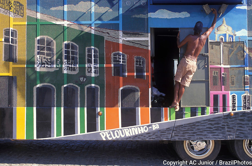 Painting in truck ( trio-elétrico, a kind of Carnival truck that guides the revelers by the streets in some brazilian cities during Carnival ). Popular art, representation of the houses of Pelourinho in Salvador, Bahia, Brazil.