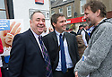 First Minister Alex Salmond on the campaign trail in Ellon with Scottish Sun's Matt Bendoris.