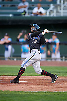 Missoula Osprey Cesar Garcia (8) at bat during a Pioneer League game against the Idaho Falls Chukars at Melaleuca Field on August 20, 2019 in Idaho Falls, Idaho. Idaho Falls defeated Missoula 6-3. (Zachary Lucy/Four Seam Images)