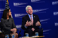 "Washington, DC - February 27, 2017: Virginia Attorney General Mark Herring speaks during the ""States Defending Progress forum at the Center for American Progress, February 27, 2017, as Illinois Attorney General Lisa Madigan looks on.  (Photo by Don Baxter/Media Images International)"