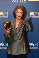 Charlotte Rampling at the Award Winners photocall during the 74th Venice Film Festival at Sala Casino on September 9, 2017 in Venice, Italy. <br /> CAP/GOL<br /> &copy;GOL/Capital Pictures