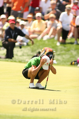 Apr. 2, 2006; Rancho Mirage, CA, USA; Lorena Ochoa reacts after missing a birdie putt on the 14th hole at the Kraft Nabisco Championship at Mission Hills Country Club. ...Mandatory Photo Credit: Darrell Miho.Copyright © 2006 Darrell Miho .