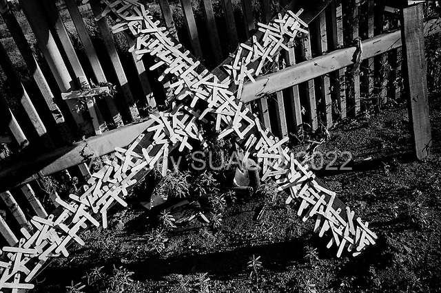 Agua Prieta.Mexico.October 22, 2006..On the mexican side of the border crosses honor the dead who have crossed it illegally and died. The fence is to deter immigrants from entering the USA illegally at the Douglas port of entry..