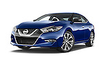 Stock pictures of low aggressive front three quarter view of 2018 Nissan Maxima SR 4 Door Sedan Low Aggressive
