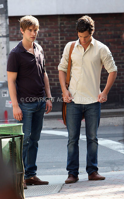 WWW.ACEPIXS.COM . . . . .  ....August 3 2009, New York City....Chace Craword and Penn Badgley on the set of the TV show 'Gossip Girl' in Soho on August 3 2009 in New York City....Please byline: NANCY RIVERA- ACE PICTURES.... *** ***..Ace Pictures, Inc:  ..tel: (212) 243 8787 or (646) 769 0430..e-mail: info@acepixs.com..web: http://www.acepixs.com