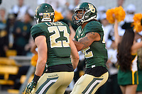 Baylor inside receiver Levi Norwood (42) reacts after scoring a touchdown during NCAA football game, Saturday, November 01, 2014 in Waco, Tex. Baylor defeated Kansas 60-14. (Mo Khursheed/TFV Media via AP Images)