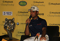 Shubhankar Sharma (IND) during an interview after winning of the Maybank Championship at the Saujana Golf and Country Club in Kuala Lumpur on Saturday 4th February 2018.<br /> Picture:  Thos Caffrey / www.golffile.ie<br /> <br /> All photo usage must carry mandatory copyright credit (© Golffile | Thos Caffrey)