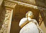 Statue on the facade of the Celsus Library in the ancient Turkish city of Ephesus.