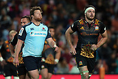 June 3rd 2017, FMG Stadium, Waikato, Hamilton, New Zealand; Super Rugby; Chiefs versus Waratahs;  Waratahs reserve Paddy Ryan and Chiefs flanker Mitchell Brown leave the ground after both receiving yellow cards from Match Referee Paul Williams during the Super Rugby rugby match
