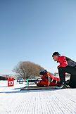 USA, Utah, Midway, Soldier Hollow, learning how to Biathlon, preparing to shoot
