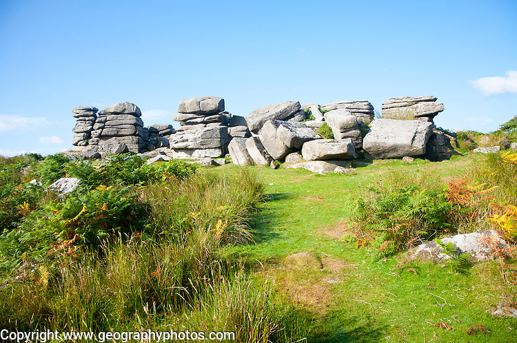 Granite upland landscape at Combestone Tor, near Hexworthy, Dartmoor national park, Devon, England, UK