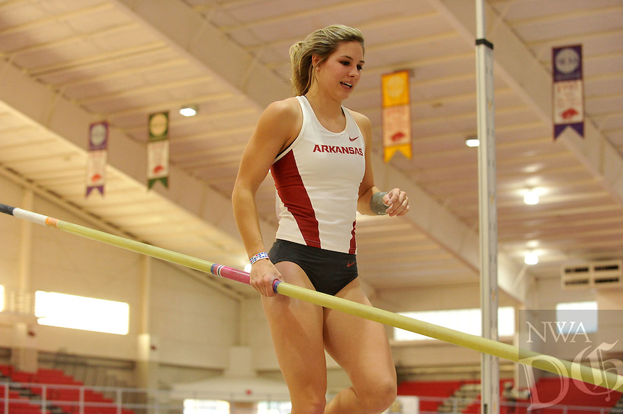 NWA Democrat-Gazette/MICHAEL WOODS &bull; @NWAMICHAELW<br /> University of Arkansas pole vaulter Alexis Weeks clears the bar in the women's pole vault Friday, January 29, 2016, during the Razorback Invitational at the Randal Tyson Track Complex in Fayetteville.