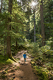 USA, Oregon, Oregon Cascades, a young boy runs on the trail during the hike out to Proxy Falls located off the McKenzie Pass on Hwy 242, the Wilamette National Forest