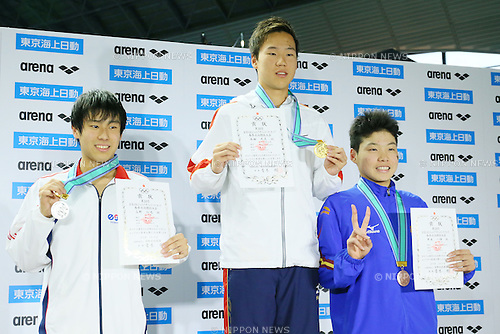 (L to R) <br /> Yuya Takano, <br /> Taisei Nishida, <br /> Ikki Imoto, <br /> MARCH 27, 2016 - Swimming : <br /> The 38th JOC Junior Olympic Cup <br /> Men's 400m Freestyle <br /> 13-14 years old Award Ceremony <br /> at Tatsumi International Swimming Pool, Tokyo, Japan. <br /> (Photo by YUTAKA/AFLO SPORT)