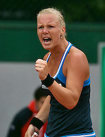 France, Paris, 27.05.2014. Tennis, French Open,Roland Garros, Kiki Bertens (NED) makes a fist and jubilates in her match against Alexandra Cadantu (ROU)<br /> Photo:Tennisimages/Henk Koster