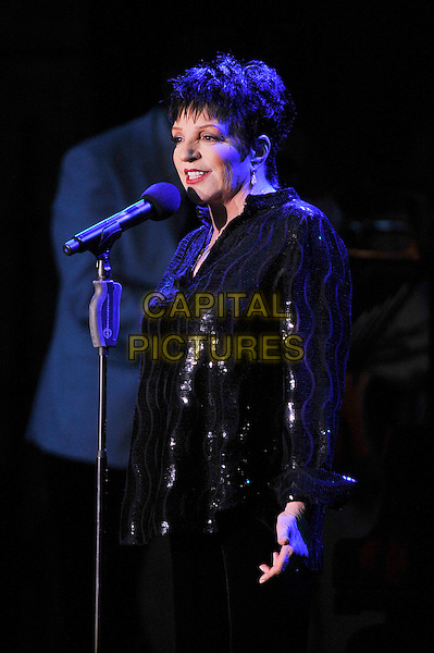 Liza Minnelli performing live in concert, Hampton Court, London, England. .14th June 2012.on stage in concert live gig performance performing music half length black shirt sequins sequined singing side profile .CAP/MAR.© Martin Harris/Capital Pictures.