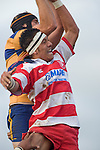 S. Loutongo tries to upset A. Van der Heijden's lineout ball. Counties Manukau Rugby Union Premier round 7  game between Patumahoe & Karaka played at Patumahoe on May 26th 2007. Karaka led 5 - 3 at halftime and went on to win 12 - 3.