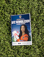 Todays match day program for the Sky Bet League 2 match between AFC Wimbledon and Wycombe Wanderers at the Cherry Red Records Stadium, Kingston, England on 21 November 2015. Photo by Alan  Stanford/PRiME.