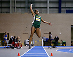 BROOKINGS, SD - FEBRUARY 24:  Rose Jackson from North Dakota State University leaps during the finals of the women's long jump Friday afternoon at the Summit League Indoor Championships in Brookings, SD. (Photo by Dave Eggen/Inertia)
