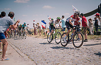 Bob Jungels (LUX/Quick-Step Floors) at the end of pav&eacute; sector #9<br /> <br /> Stage 9: Arras Citadelle &gt; Roubaix (154km)<br /> <br /> 105th Tour de France 2018<br /> &copy;kramon
