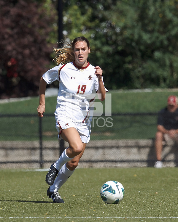 Boston College midfielder Rosie DiMartino (19) brings the ball forward. Virginia Tech (maroon) defeated Boston College (white), 1-0, at Newton Soccer Field, on September 22, 2013.