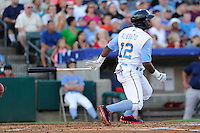 Shortstop Hanser Alberto (12) of the Myrtle Beach Pelicans in a game against the Potomac Nationals on Friday, August 9, 2013, at TicketReturn.com Field in Myrtle Beach, South Carolina. Myrtle Beach won, 3-2. (Tom Priddy/Four Seam Images)