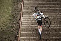 World Champion Mathieu Van der Poel (NLD/BKCP-Corendon) up the 44 steps<br /> <br /> Grand Prix Adrie van der Poel, Hoogerheide 2016<br /> UCI CX World Cup