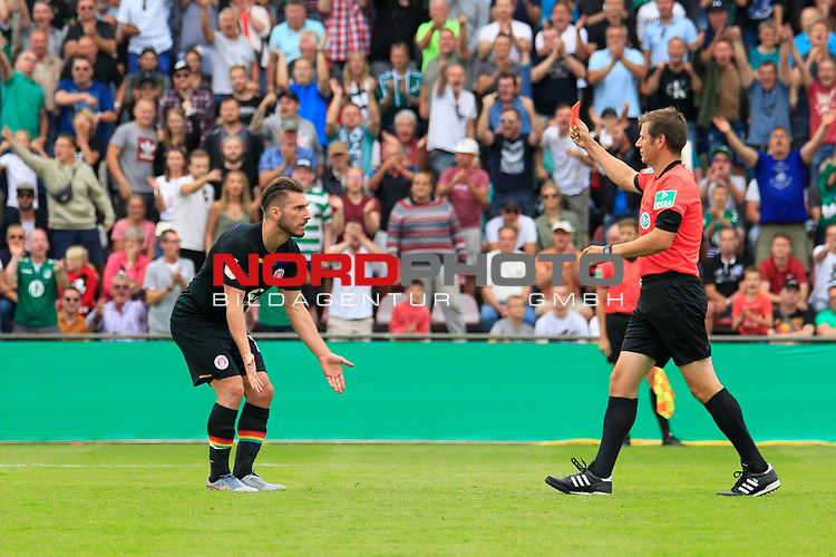 11.08.2019, Stadion Lohmühle, Luebeck, GER, DFB-Pokal, 1. Runde VFB Lübeck vs 1.FC St. Pauli<br /> <br /> DFB REGULATIONS PROHIBIT ANY USE OF PHOTOGRAPHS AS IMAGE SEQUENCES AND/OR QUASI-VIDEO.<br /> <br /> im Bild / picture shows<br /> Rote Karte fuer Dimitrios Diamantakos (FC St. Pauli) von Schiedsrichter Frank Willenborg<br /> <br /> Foto © nordphoto / Tauchnitz
